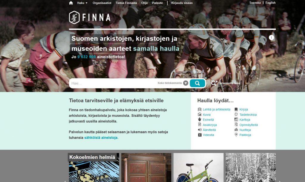 Finna kokoaa yhteen Suomen museoiden, arkistojen ja kirjastojen materiaaleja.