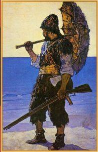 Robinson Crusoe -kirjan kuvitusta vuodelta 1920. Kuvittaja N. C. Wyeth.
