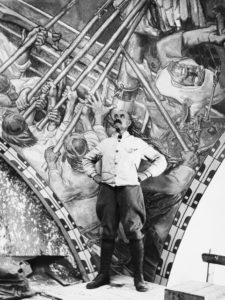 Akseli Gallen-Kallela ja Kansallismuseon fresko Sammon puolustus 1928