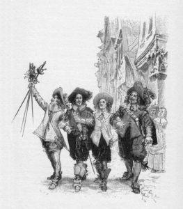 Kolme muskettisoturia -teoksen ensimmäisen painoksen kuvitusta. Kuvittaja Maurice Leloir.